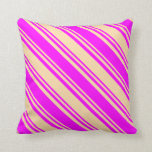 [ Thumbnail: Tan and Fuchsia Colored Lines/Stripes Pattern Throw Pillow ]