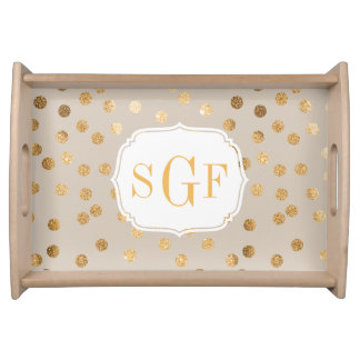 Tan and Gold Glitter Dots Monogram Tray