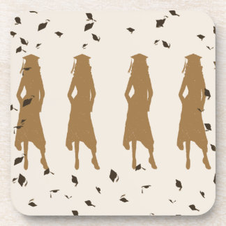 Tan and Gold Grad Girl Silhouettes Coaster