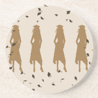Tan and Gold Grad Girl Silhouettes Drink Coaster