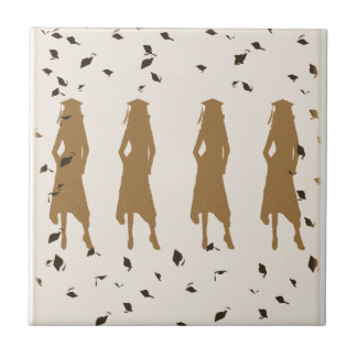 Tan and Gold Grad Girl Silhouettes Tile