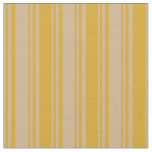 [ Thumbnail: Tan and Goldenrod Lines/Stripes Pattern Fabric ]