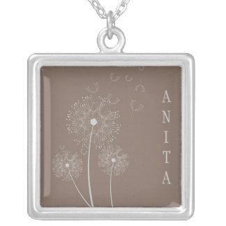 Tan and Gray Dandelion Necklace