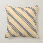 [ Thumbnail: Tan and Gray Stripes/Lines Pattern Throw Pillow ]