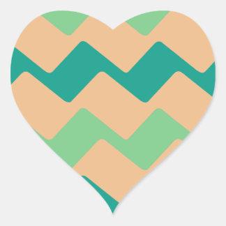 Tan and Green Chevron Heart Sticker