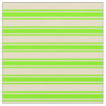 [ Thumbnail: Tan and Green Colored Lined/Striped Pattern Fabric ]