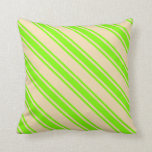 [ Thumbnail: Tan and Green Colored Lined/Striped Pattern Pillow ]