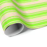 [ Thumbnail: Tan and Green Colored Lined/Striped Pattern Wrapping Paper ]