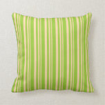 [ Thumbnail: Tan and Green Colored Pattern of Stripes Pillow ]