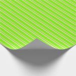 [ Thumbnail: Tan and Green Colored Striped Pattern Wrapping Paper ]