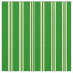 [ Thumbnail: Tan and Green Colored Stripes Fabric ]