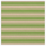 [ Thumbnail: Tan and Green Colored Stripes Pattern Fabric ]