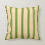 [ Thumbnail: Tan and Green Lined Pattern Throw Pillow ]