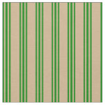 [ Thumbnail: Tan and Green Lines Pattern Fabric ]