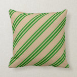 [ Thumbnail: Tan and Green Lines Pattern Throw Pillow ]