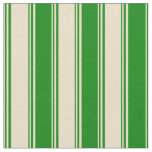 [ Thumbnail: Tan and Green Pattern of Stripes Fabric ]