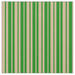 [ Thumbnail: Tan and Green Stripes/Lines Pattern Fabric ]