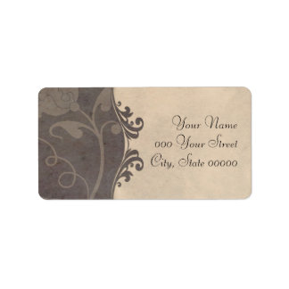 Tan and Grey Floral Wedding Address Labels