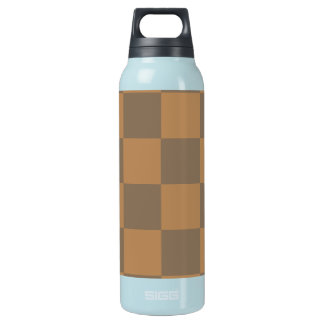 Tan and Grey Tile Pattern Insulated Water Bottle