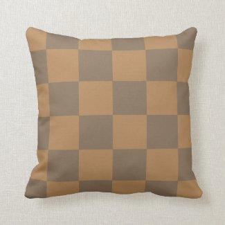 Tan and Grey Tile Pattern Throw Pillow