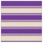 [ Thumbnail: Tan and Indigo Colored Lines Fabric ]