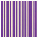 [ Thumbnail: Tan and Indigo Colored Pattern of Stripes Fabric ]