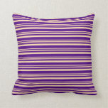 [ Thumbnail: Tan and Indigo Colored Pattern of Stripes Pillow ]