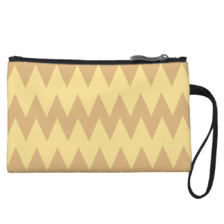 Tan and Light Brown Zigzags Wristlet Purse
