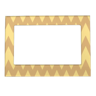 Tan and Light Brown Zigzags. Magnetic Picture Frame