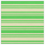 [ Thumbnail: Tan and Lime Green Lines/Stripes Pattern Fabric ]
