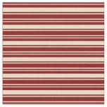 [ Thumbnail: Tan and Maroon Striped Pattern Fabric ]