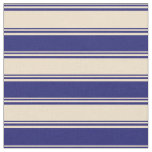 [ Thumbnail: Tan and Midnight Blue Colored Pattern Fabric ]