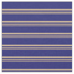 [ Thumbnail: Tan and Midnight Blue Lined/Striped Pattern Fabric ]