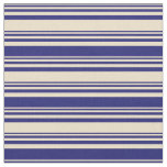 [ Thumbnail: Tan and Midnight Blue Pattern of Stripes Fabric ]