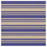 [ Thumbnail: Tan and Midnight Blue Striped/Lined Pattern Fabric ]