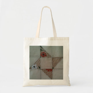 Tan and muslin star quilt square tote bag