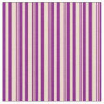 [ Thumbnail: Tan and Purple Colored Lined Pattern Fabric ]