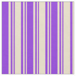 [ Thumbnail: Tan and Purple Colored Lines Fabric ]