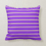 [ Thumbnail: Tan and Purple Lined/Striped Pattern Throw Pillow ]