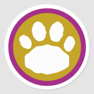 Tan and Purple Paw Print Classic Round Sticker