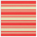 [ Thumbnail: Tan and Red Colored Lines Fabric ]