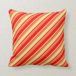 [ Thumbnail: Tan and Red Colored Lines Throw Pillow ]