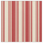 [ Thumbnail: Tan and Red Colored Pattern of Stripes Fabric ]