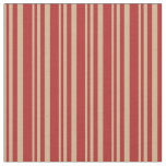 [ Thumbnail: Tan and Red Colored Stripes/Lines Pattern Fabric ]