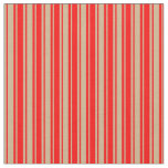 [ Thumbnail: Tan and Red Lined/Striped Pattern Fabric ]