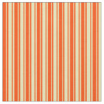 [ Thumbnail: Tan and Red Striped/Lined Pattern Fabric ]