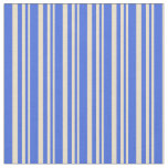 [ Thumbnail: Tan and Royal Blue Colored Stripes/Lines Pattern Fabric ]