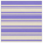 [ Thumbnail: Tan and Slate Blue Colored Lines Fabric ]