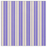 [ Thumbnail: Tan and Slate Blue Colored Lines Pattern Fabric ]