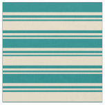 [ Thumbnail: Tan and Teal Colored Pattern of Stripes Fabric ]